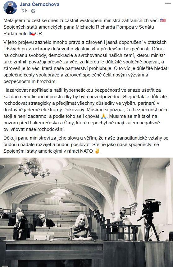 Jana Černochová promluvila o americké návštěvě v Senátu
