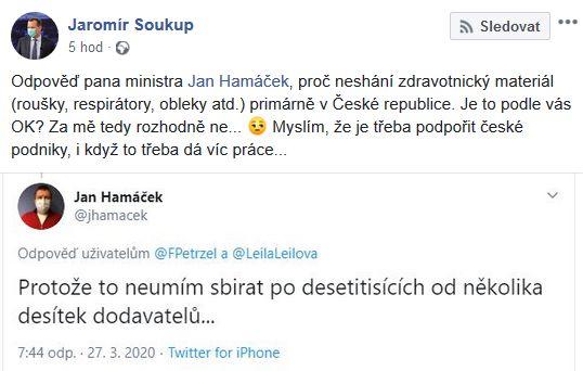 Jaromír Soukup kritizuje Jana Hamáčka