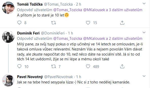 Dominik Feri odpověděl Tomáši Tožičkovi