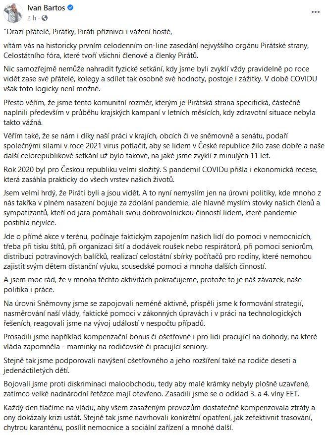 Ivan Bartoš promluvil ke spolustraníkům