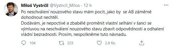 Předseda Senátu Miloš Vystrčil se ptá: Udělal to Babiš schválně?