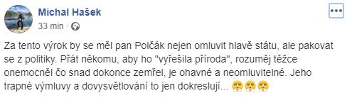 Michal Hašek reagující na slova Polčáka
