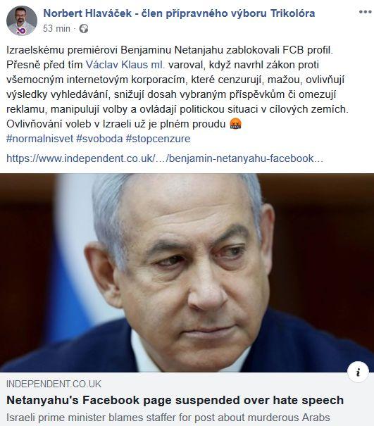 Norbert Hlaváček brání izraelského premiéra