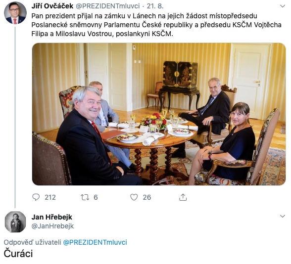 screenshot z twitteru - reakce Jana Hřebejka na vyjádření hradu
