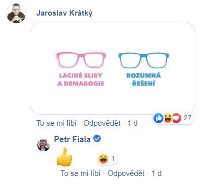 Uživatel Facebooku kometující status Petra Fialy