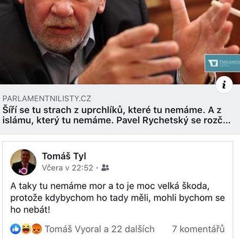 Tomáš Tyl komentuje slova soudce Rychetského