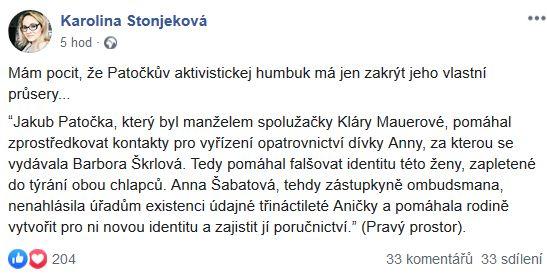 Karolína Stonjeková přemýšlí nad počínáním Jakuba Patočky