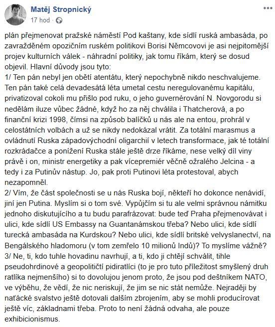 Matěj Stropnický kritizuje nápad s náměstím Borise Němcova
