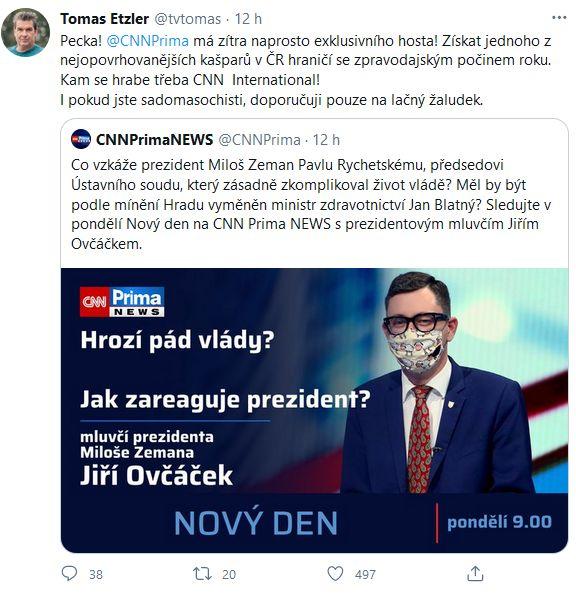 Tomáš Etzler se vysmál CNN Prima News