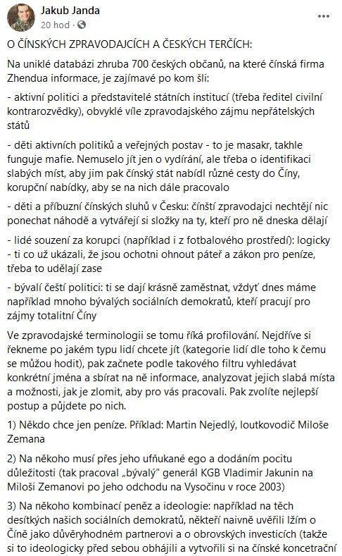 Jakub Janda promlouvá