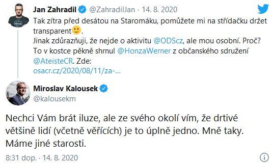Jan Zahradil a Miroslav Kalousek se přou