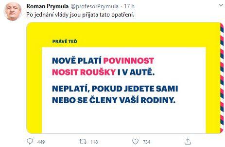 Ministr Prymula oznamuje nová opatření