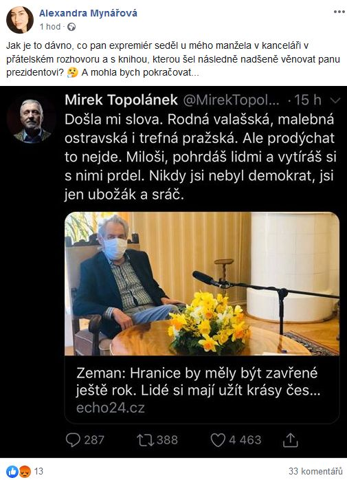 Alexandra Mynářová reaguje na slova Mirka Topolánka