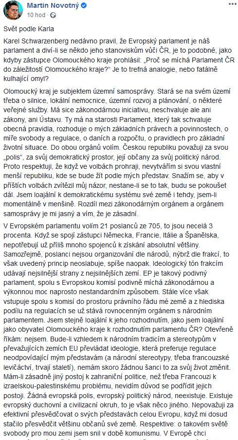 Martin Novotný poučil Karla Schwarzenberga