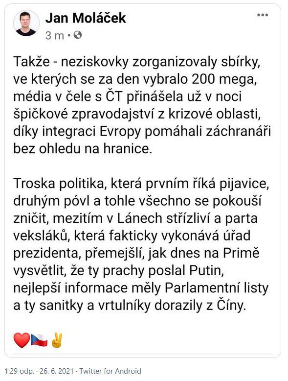 Jan Moláček udeřil nejen na Hrad
