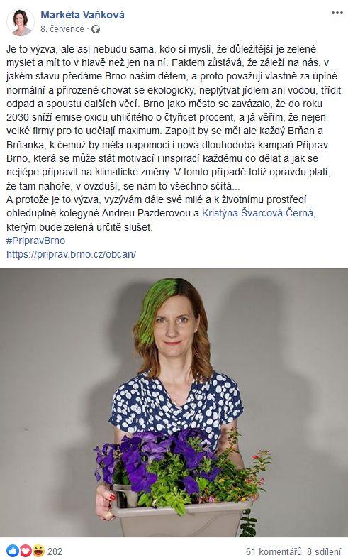 Zelenější Brno primátorky Vaňkové