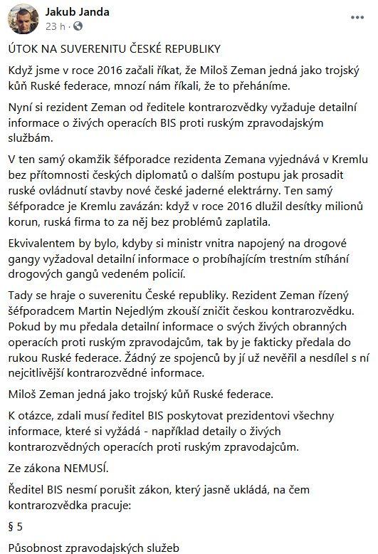 Jakub Janda udeřil na prezidenta Zemana
