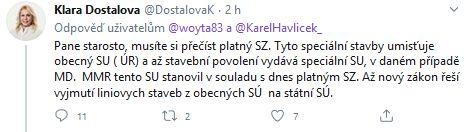 Klára Dostálová odpovídá rozzlobenému starostovi