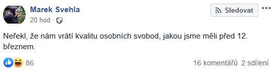 Marek Švehla reaguje na Babišův projev