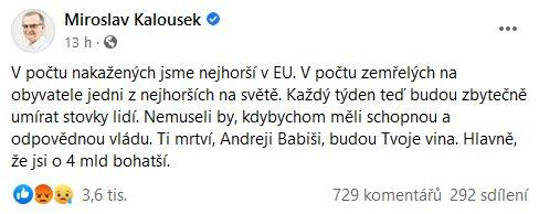 Miroslav Kalousek udeřil na Babiše