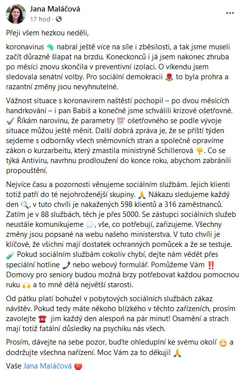 Jana Maláčová nejen o kurzarbeitu