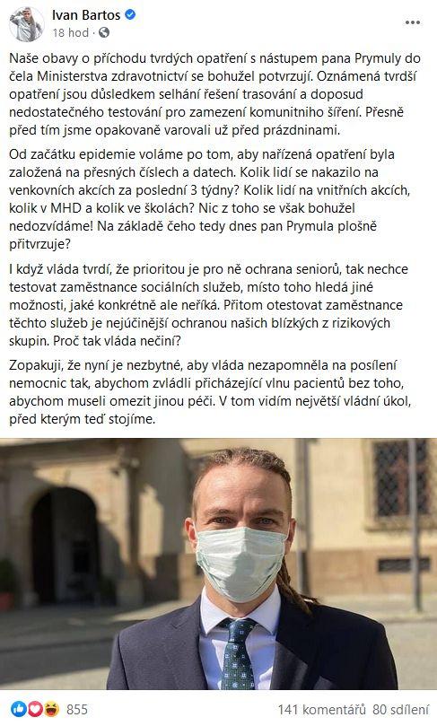 Ivan Bartoš udeřil na Romana Prymulu