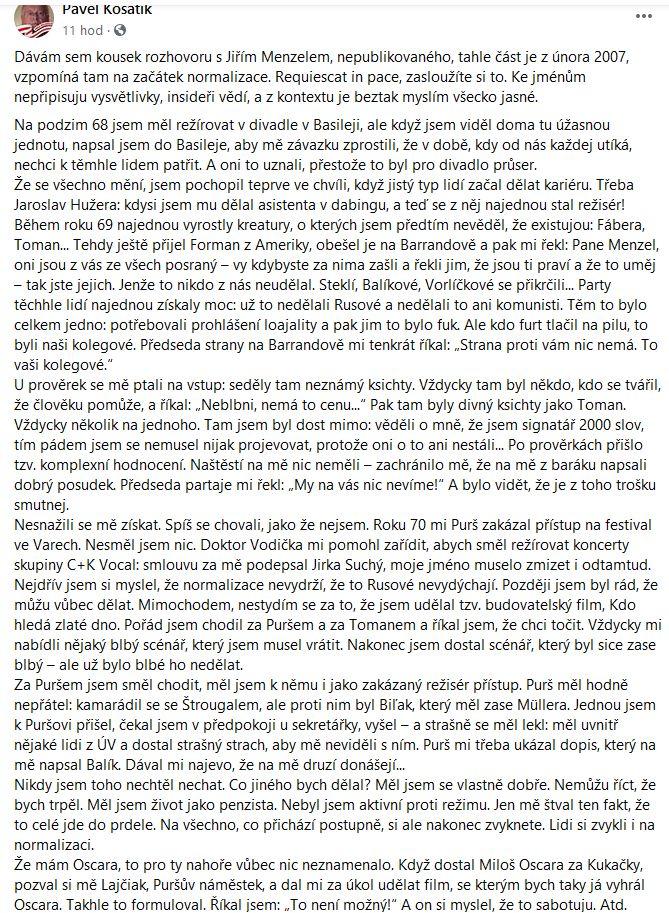 Pavel Kosatík o Jiřím Mnezelovi