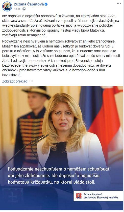 Zuzana Čaputová promluvila
