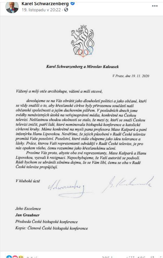 Dopis České biskupské konferenci