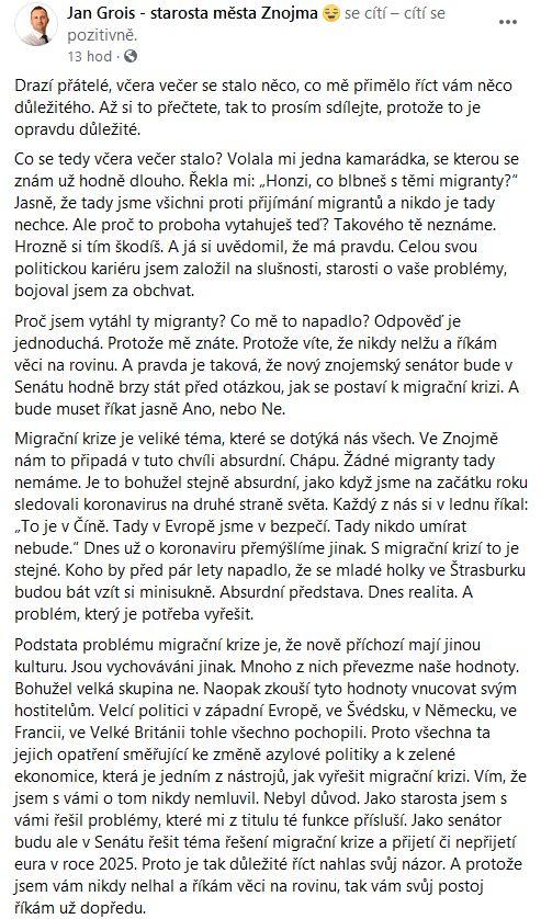 Jan Grois promlouvá