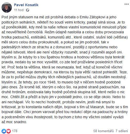 Pavel Kosatík píše nejen o Emilu Zátopkovi