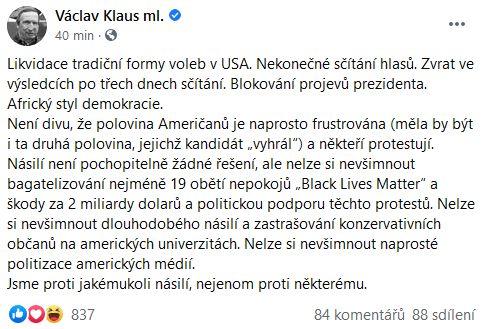 Václav Klaus mladší okomentoval situaci v USA