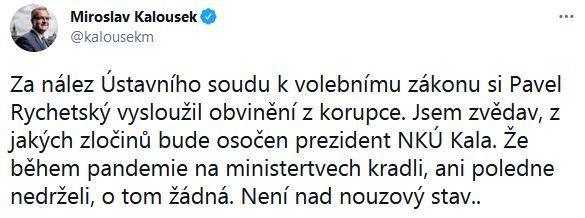 Miroslav Kalousek udeřil na Adama Vojtěcha