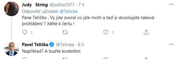 Tvrdá reakce na slova Pavla Teličky