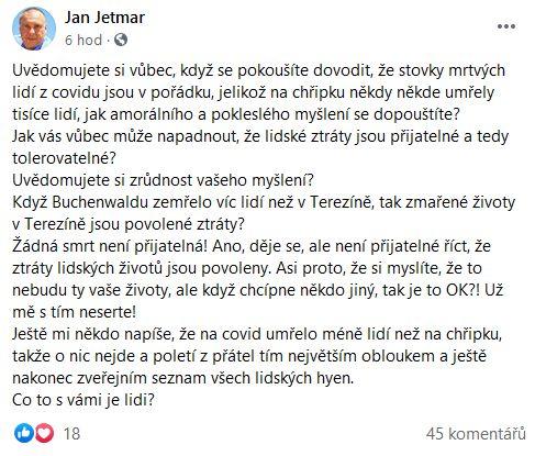 Jan Jetmar promlouvá