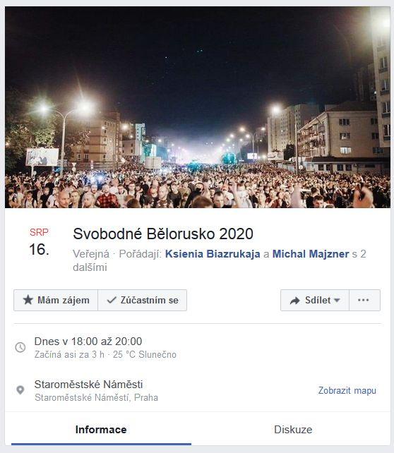 Demonstrace na podporu Běloruska