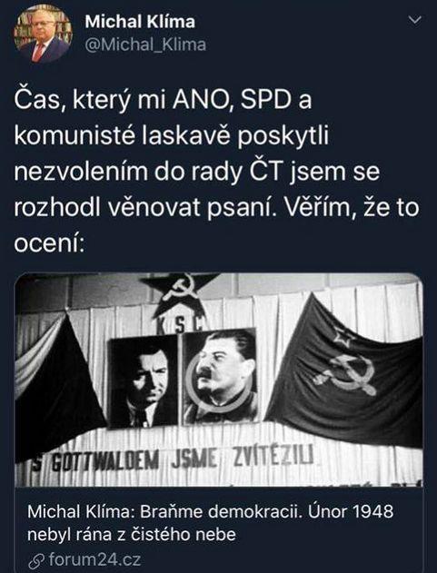 Michal Klíma promlouvá
