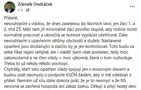 Zdeněk Ondráček udeřil na vládu