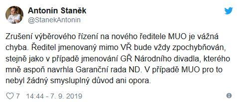 Antonín Staněk kritizuje Lubomíra Zaorálka