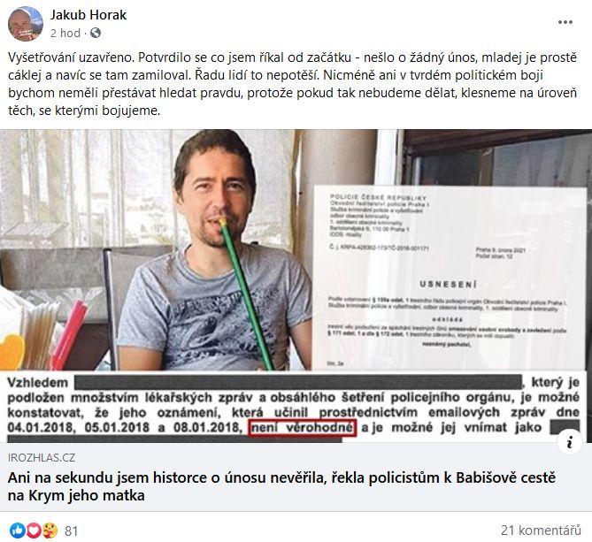 Marketér Jakub Horák se vyjádřil ke kauze Andreje Babiše mladšího