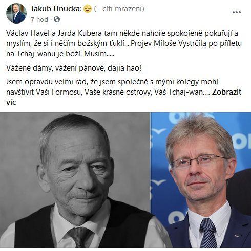 Jakub Unucka je nadšen z Miloše Vystrčila