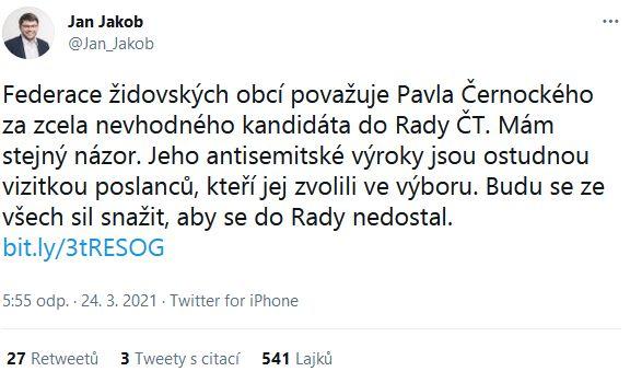 Poslanec Jan Jakob podpořil Federaci židovských obcí ČR