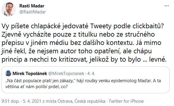 Rastislav Maďar a Mirek Topolánek jsou ve při