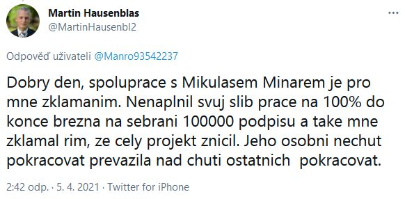 Martin Hausenblas se zlobí na Mikuláše Mináře