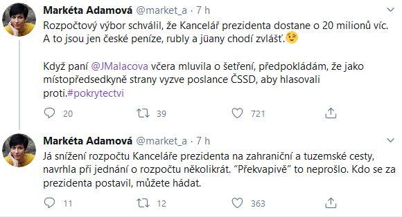 Markéta Pekarová Adamová si tropí žerty z prezidenta Zemana