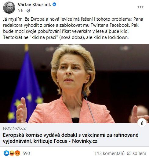 Václav Klaus počítá s vyhazovem autora článku kritického k EU.