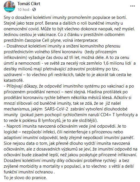 Tomáč Cikrt volá po očkování proti koronaviru