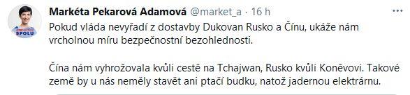 Markéta Pekarová Adamová se zlobí na vládu