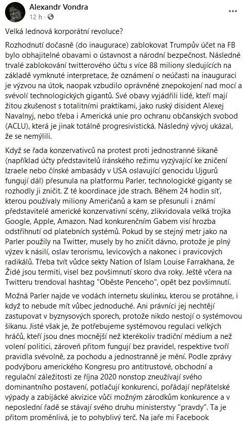 Alexandr Vondra varuje