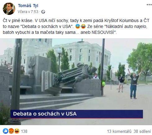 Tomáš Tyl se zlobí na ČT